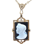 Late Victorian 14K Yellow Gold Filigree Hardstone Cameo Necklace