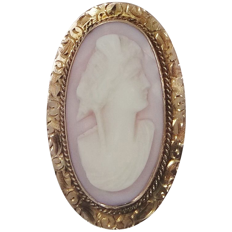 10k Angelskin Coral Victorian Cameo Pin / Pendant