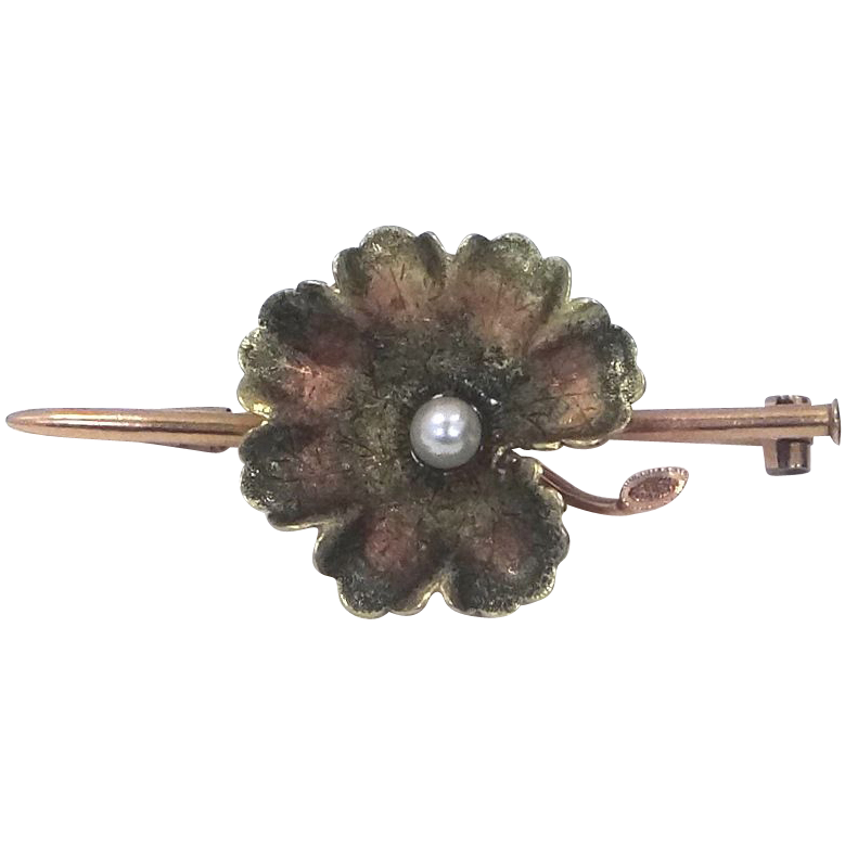 French 18k Gold, Enamel & Pearl Floral Bar Pin Early 1900's
