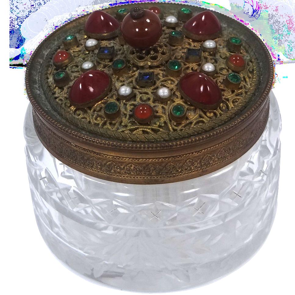 """Victorian Austrian """"Jeweled"""" Lid & Etched Glass Dresser Jar"""