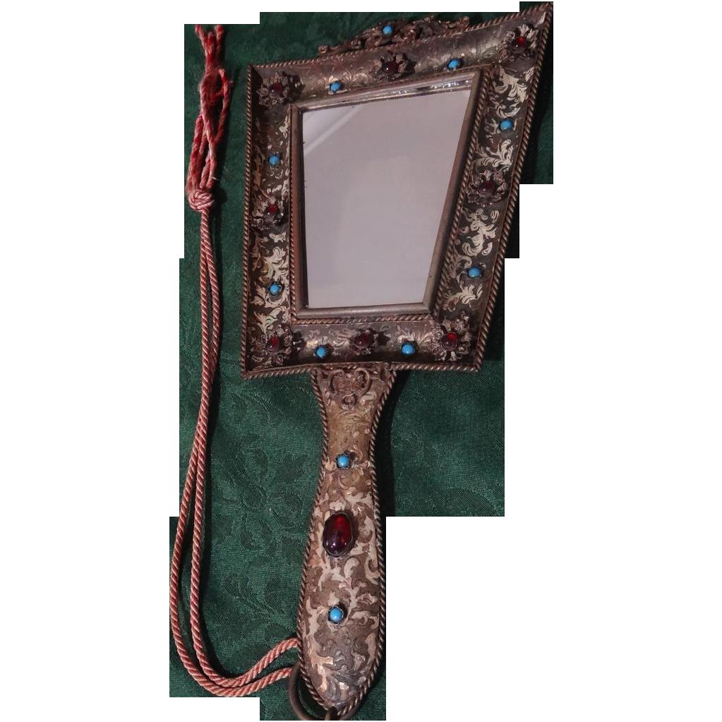 "Victorian Gilt Brass ""Jeweled"" 14"" Long Hand Mirror"