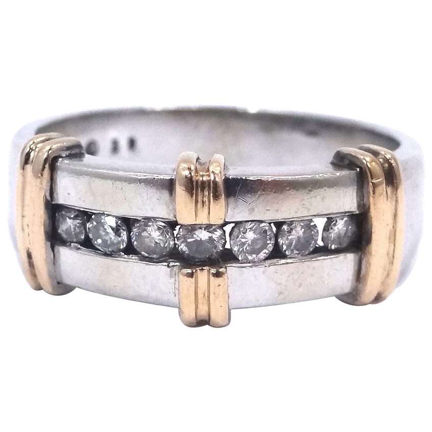 Nice 14k White Gold w/Yellow Gold Trim & Diamonds Size 10 1/2 Ring