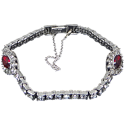 Art Deco Sterling Silver & Ruby Crystals OTIS Bracelet