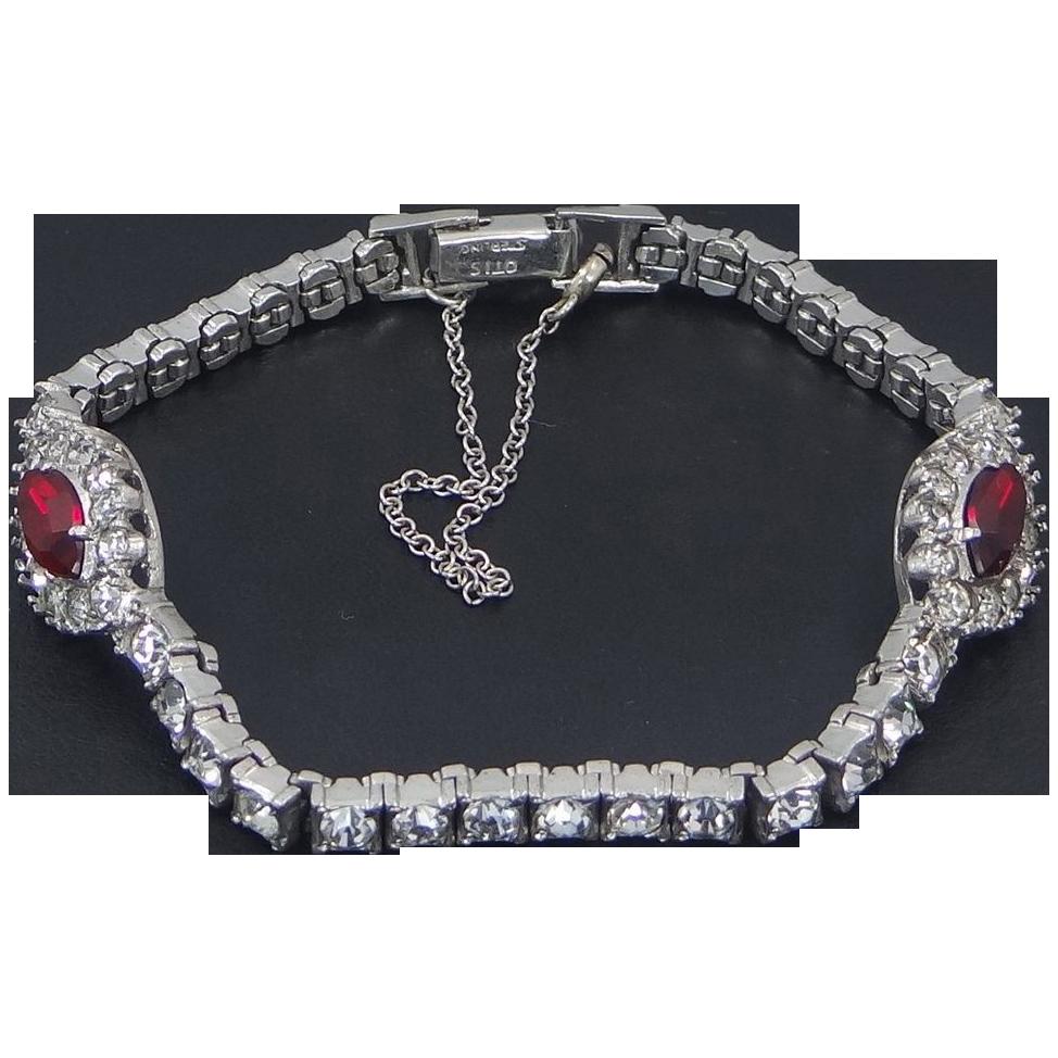 Art Deco Sterling Silver & Ruby Crystals OTIS Bracelet