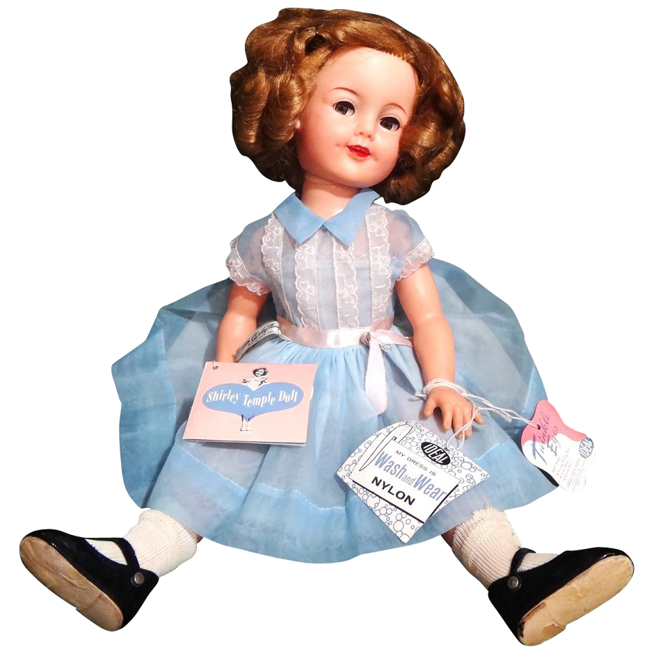 "1950's 19"" Ideal Shirley Temple Doll Flirty Eyes, AO w/3 Hang Tags"