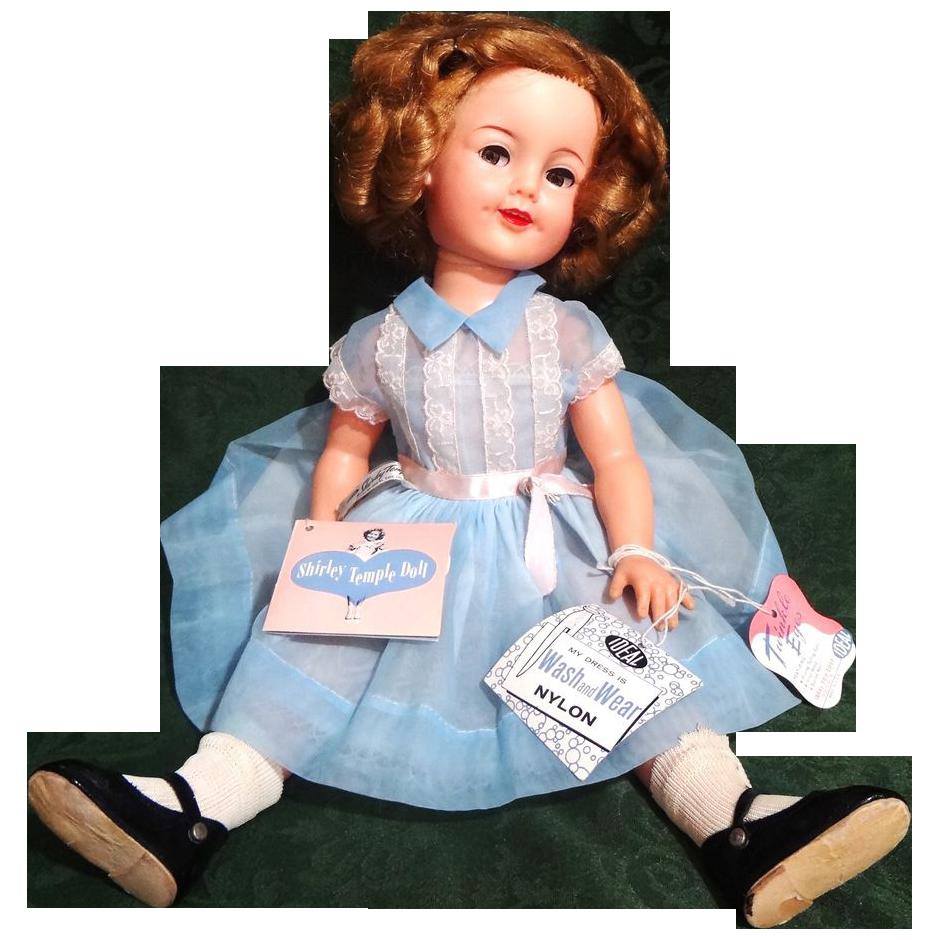 "1950's 19"" Ideal Shirley Temple Doll Flirty Eyes, AO w/3 Hang Tags"
