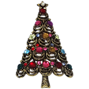 Hollycraft Multi Color Crystals Christmas Tree Pin