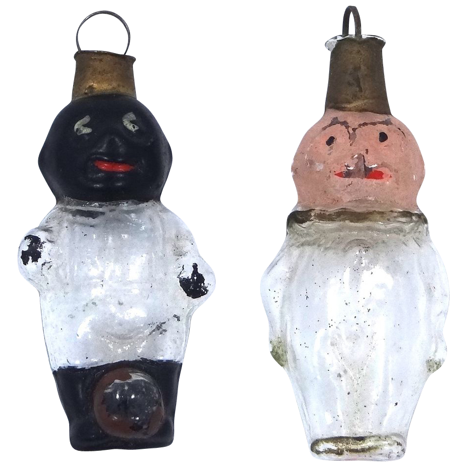 "2 Victorian Glass Germany Christmas Ornaments ""Picaninny"" & Clown"
