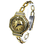 14k Gold Late Victorian 15 Jewel Ladies Elgin Wrist Watch