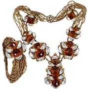 Signed Miriam Haskell Parure Topaz Crystals Necklace, Bracelet & Earrings 1940's