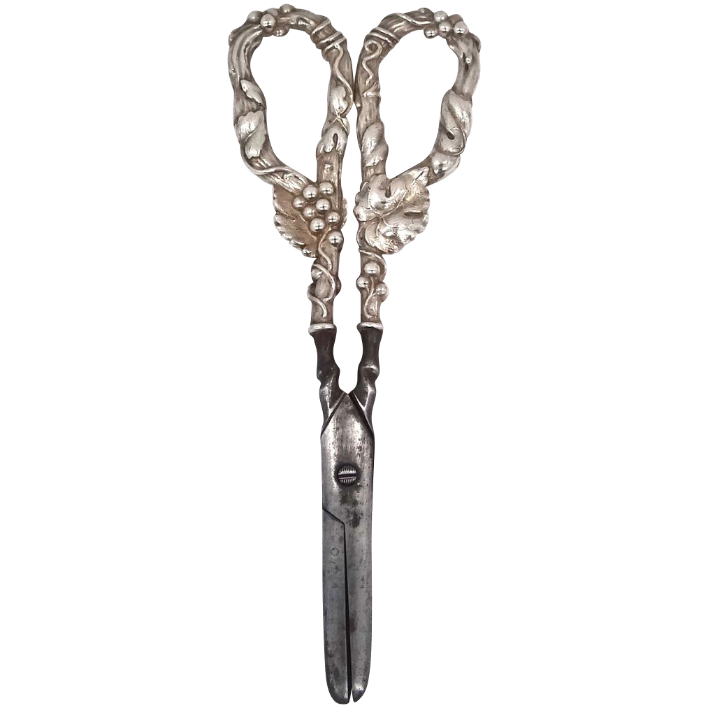 Victorian Sterling Handled Grape Shears With Vine & Grapes Motif