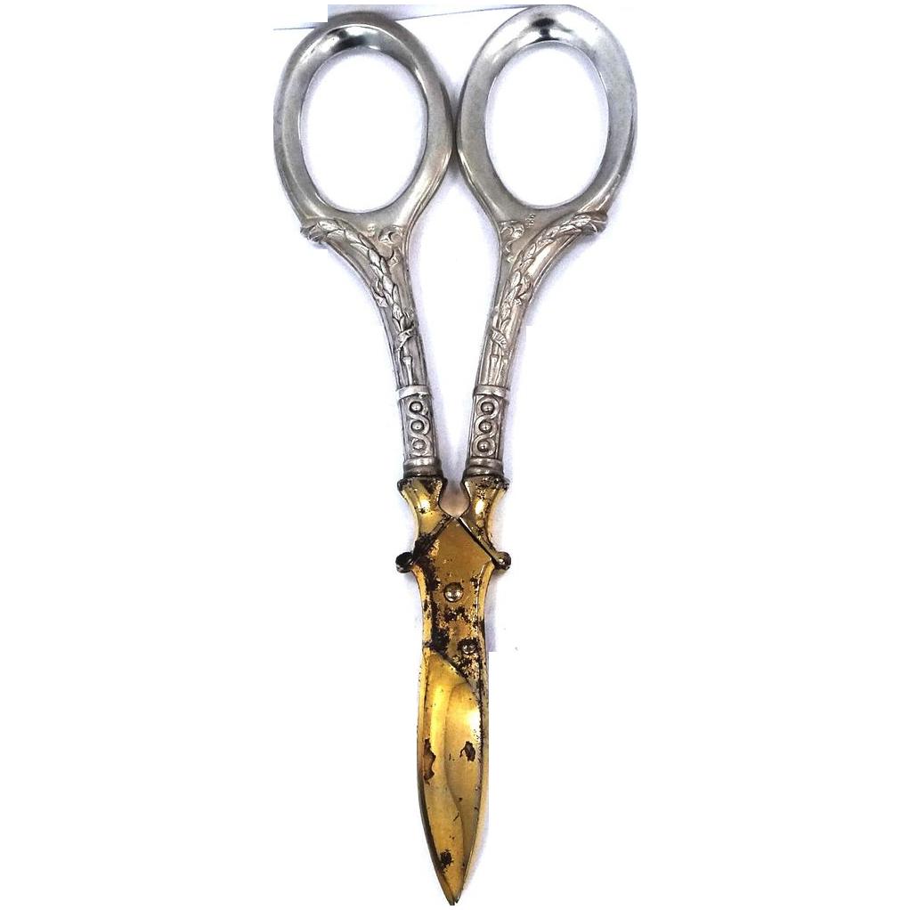 935 Sterling Handled Scissors or Shears Victorian Acier