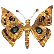 18k Solid Gold, Rubies & Enamel Figural Butterfly Brooch Italy Designer Signed