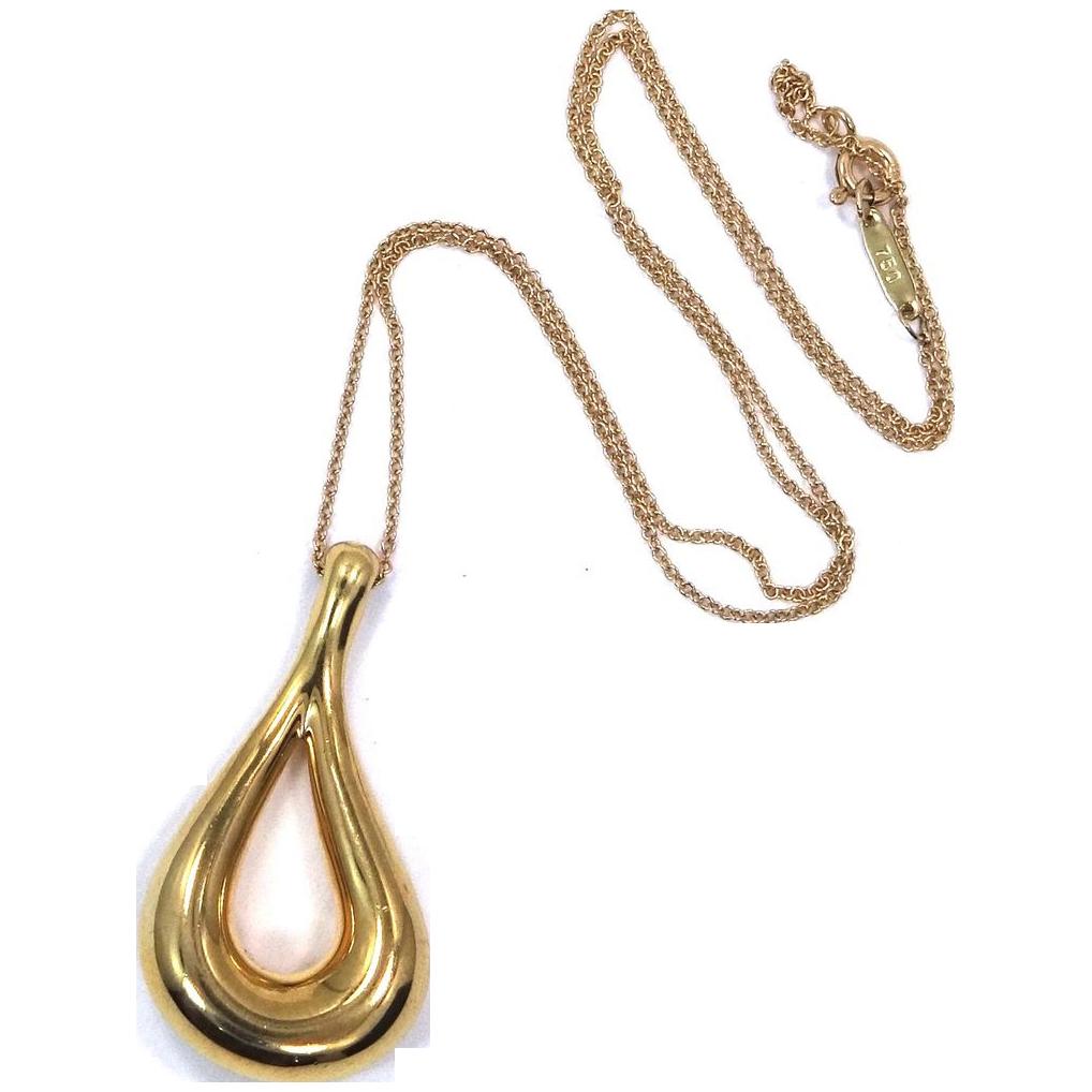 18k Tiffany & Co. Elsa Peretti Open Teardrop Necklace