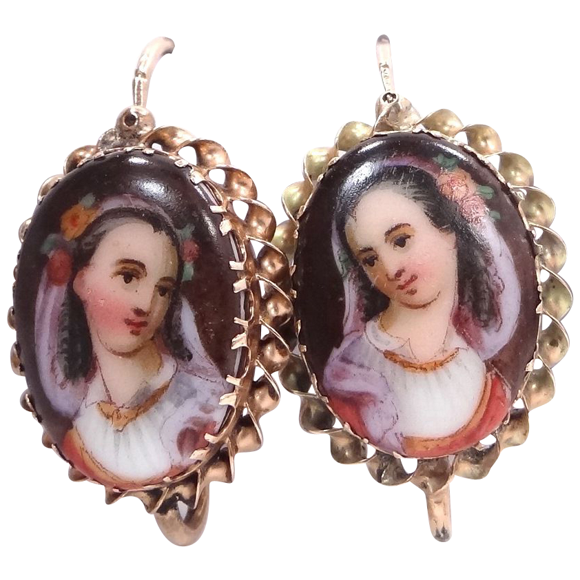 Rare Victorian 14k Gold Hand Painted Portrait Earrings