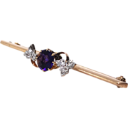 Victorian 14k Gold, Rose Cut Diamonds & 1 Carat Amethyst Bar Pin