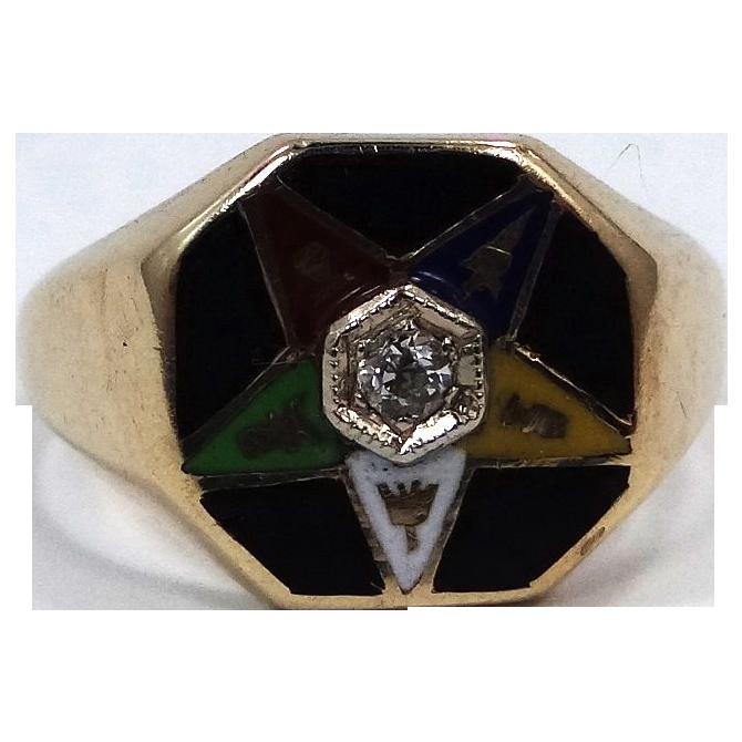 14k Gold Diamond & Enamel Eastern Star Ring