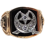 Platinum 14k Gold & Diamonds Man's Shriner's Ring