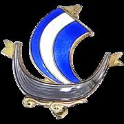 Aksel Holmsen Sterling Vermeil Enamel Sailing Ship Brooch