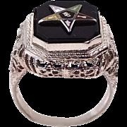 14k White Gold Art Deco Filigree Eastern Star Ring