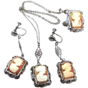 Art Deco Shell Cameo Filigree Parure Necklace, Earrings & Ring