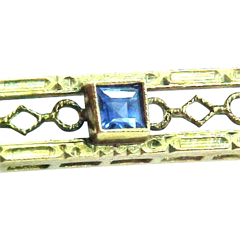 10k Gold Filigree Sapphire Art Deco Bar Pin