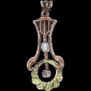 10k Green Gold Diamond & Pearl Victorian Lavaliere