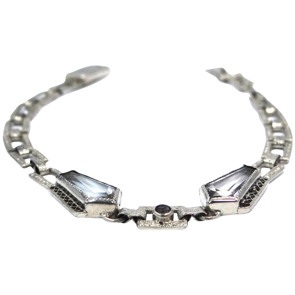 1920's Wells Sterling Art Deco Faceted Crystals Filigree Bracelet