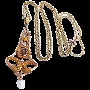 Victorian 10k Gold Aquamarine & Pearl Lavaliere & Chain