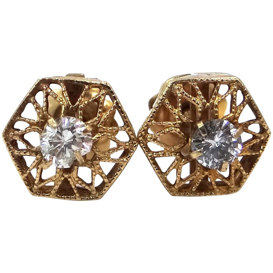 Victorian 14k Yellow Gold Filigree Diamond Earrings 0.40 tcw