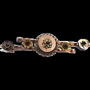 9k Tri-Color Gold & Bohemian Garnets Victorian Bar Pin