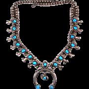 Navajo Artist M. Davis Sterling Turquoise Squash Blossom Necklace 14 Blossoms