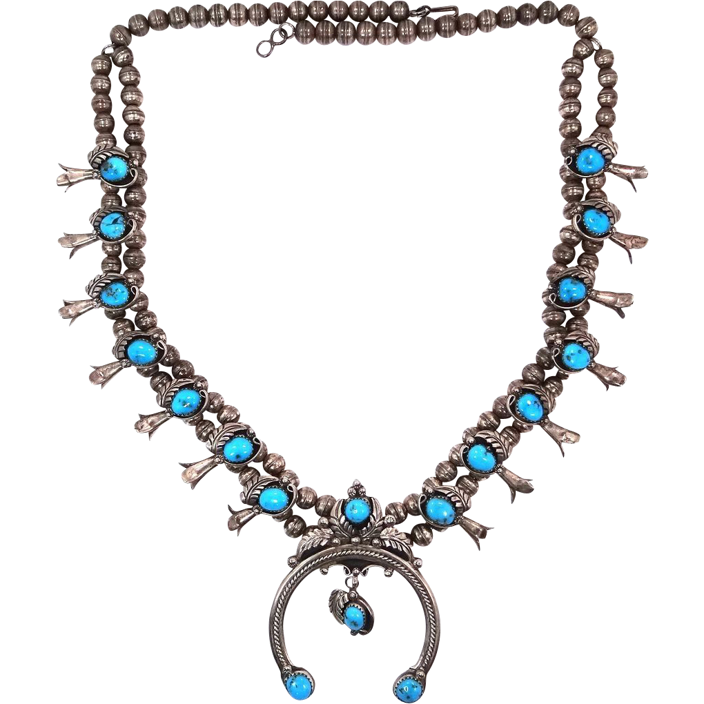 Navajo Artist M. Davis Sterling Turquoise Squash Blossom Necklace 14 Blossoms