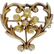 10k Gold & Seed Pearl Victorian Pin