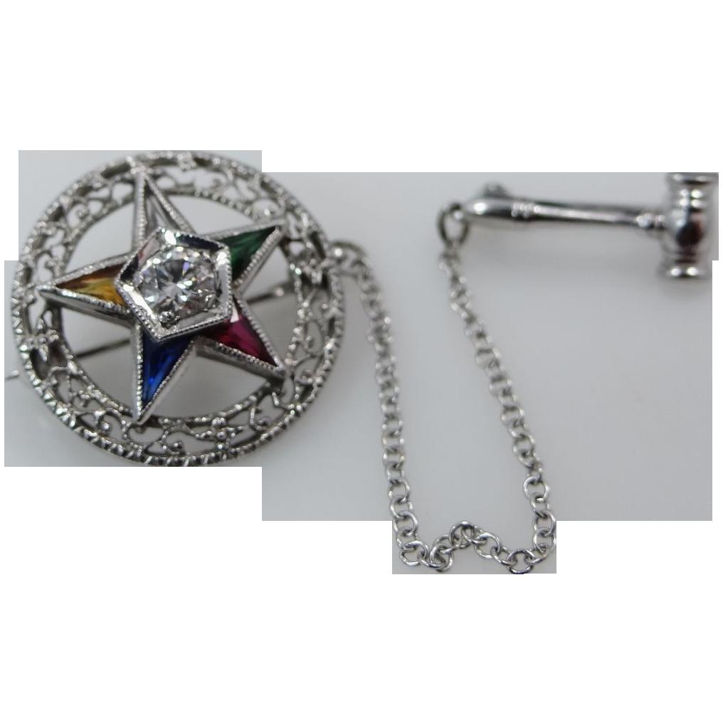 14k White Gold 1/4 Carat Diamond & Gemstones Eastern Star Pin w/Orig. Box
