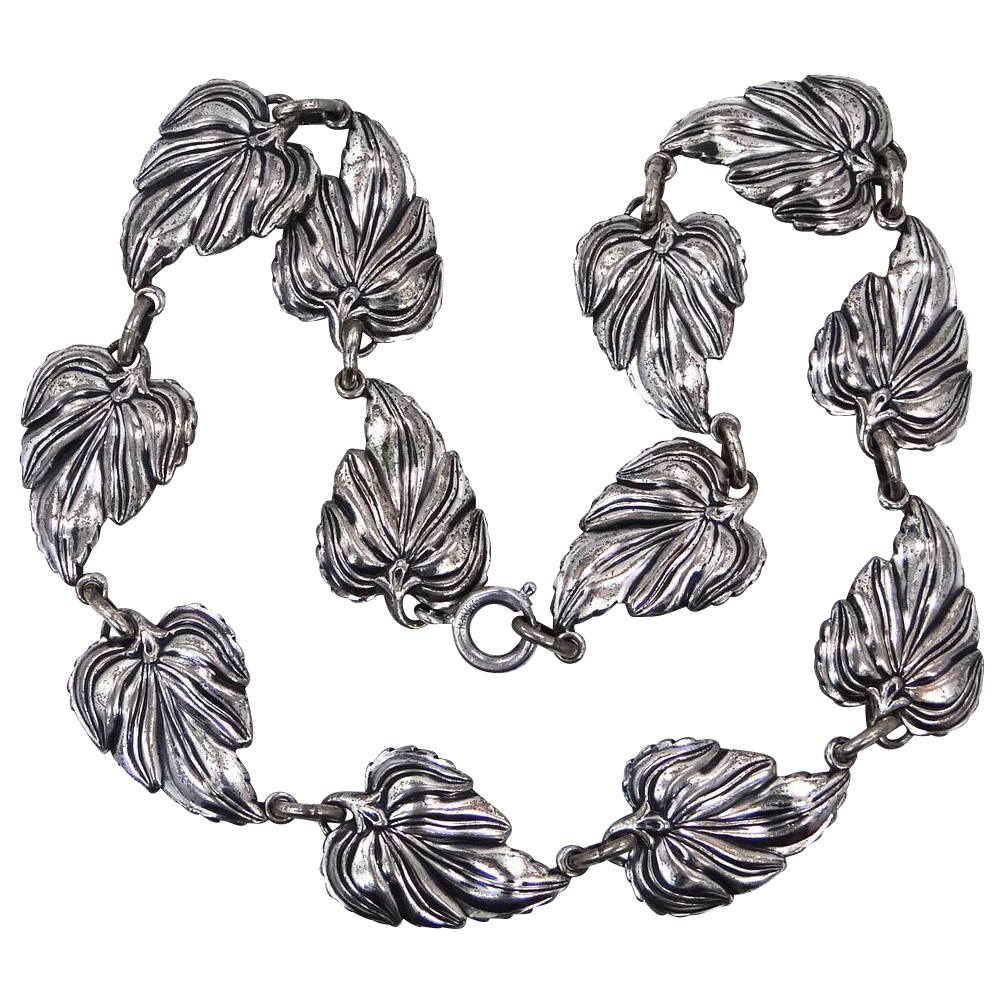 Danecraft Sterling Silver Large Leaves Necklace