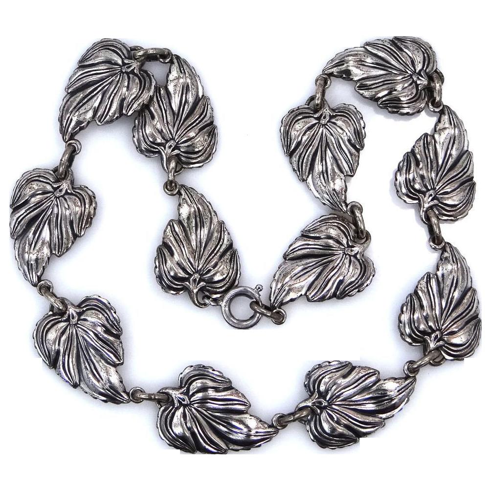 Danecraft Sterling Silver Large Leaves Necklace