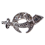 1920's 10k White Gold & Diamonds Shriner's Pin