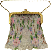1920's Whiting Davis Dresden Mesh Purse