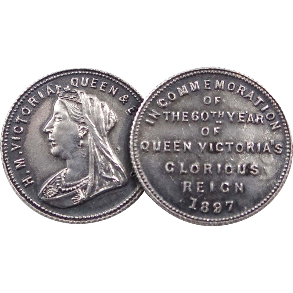 1897 Queen Victoria Commemorative Double Coins Pin