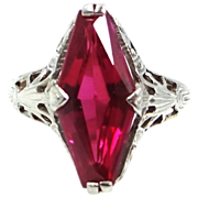 14k Filigree White Gold Ruby Art Deco Ladies Ring