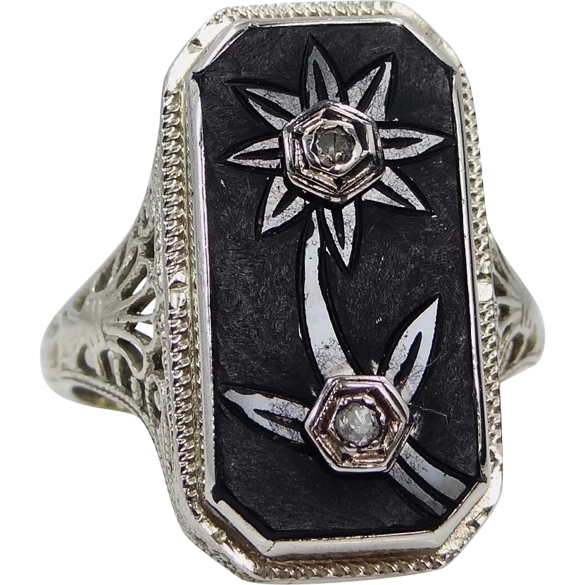 1920's 14k White Gold Filigree Carved Onyx & Diamonds Size 5 1/2 Ring