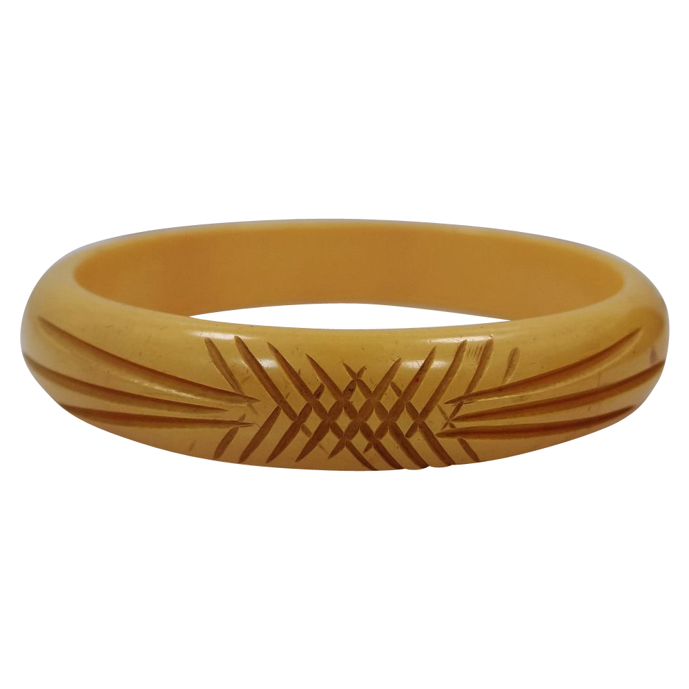 Carved Bakelite Bangle Bracelet Creamed Corn Color