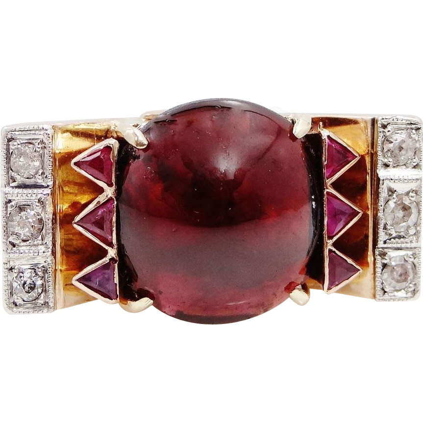 HUGE 14k Rose Gold Garnet, Diamonds & Rubies Victorian Ring