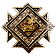 Vintage 10k Gold & Seed Pearls Masonic Knight's Templar Pin