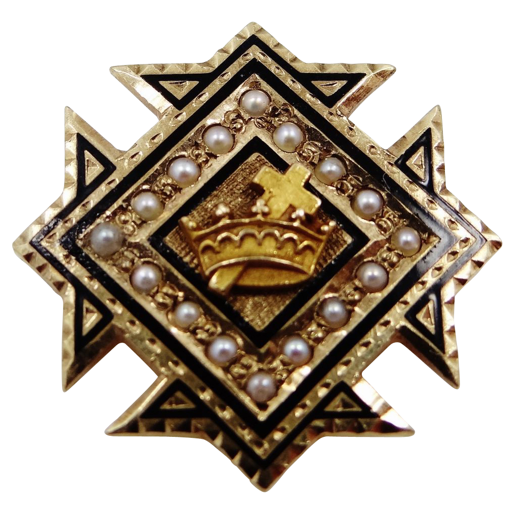 Vintage 10k Gold & Seed Pearls Masonic Knight's Templar Pin
