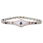 Art Deco 10k White Gold Filigree Bracelet W/Sapphires