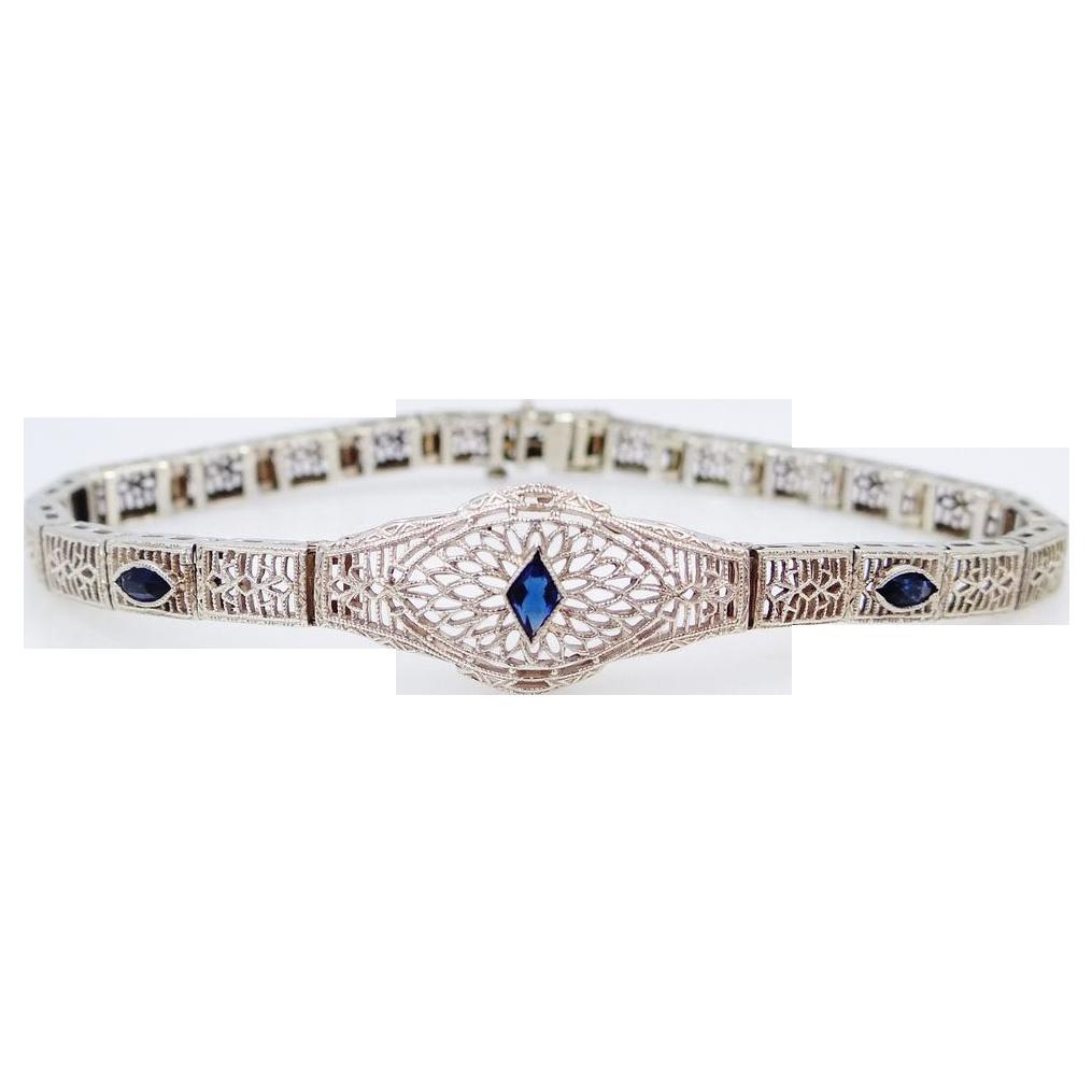 Art Deco 10k White Gold Filigree Bracelet W/Sapphires