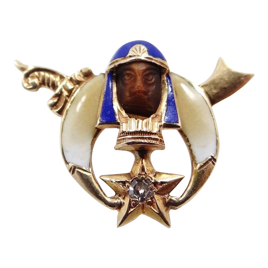 14K Gold Diamond & Carved Tiger Eye Enamel Shriner's Pin