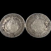 Silver 1847 & 1848 Hungary 20 Krajczar Cufflinks in Original Box